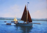 Pastel by Christine Slade. Boatyard in winter. The Westcliffe Gallery, Sheringham
