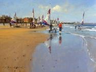 Beach Scene by Raymond Leech at The Westcliffe Gallery, Sheringham