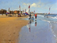 Beach Scene by Raymond Leech at The Westcliffe Gallery, Sheringham