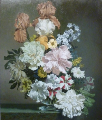 Flower Piece Peonies & Iris. Bennett Oates. Westcliffe Gallery, Sheringham