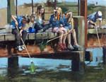 Raymond Leech. Seaside Oil Beach Crabbing Westcliffe Gallery Sheringham