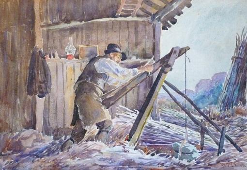 Tom Armes Watercolour. Hoop Maker. Westcliffe Gallery, Sheringha,